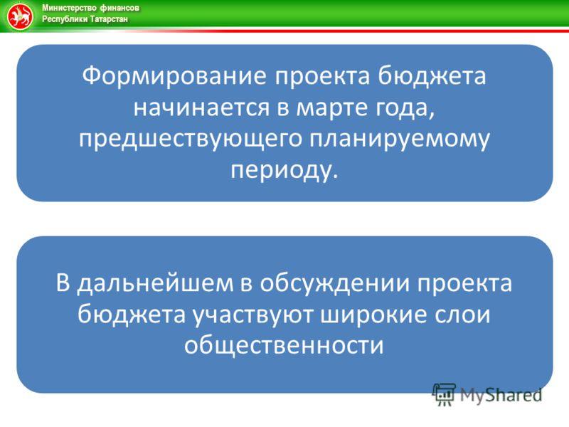 Министерство финансов Республики Татарстан Формирование проекта бюджета начинается в марте года, предшествующего планируемому периоду. В дальнейшем в обсуждении проекта бюджета участвуют широкие слои общественности