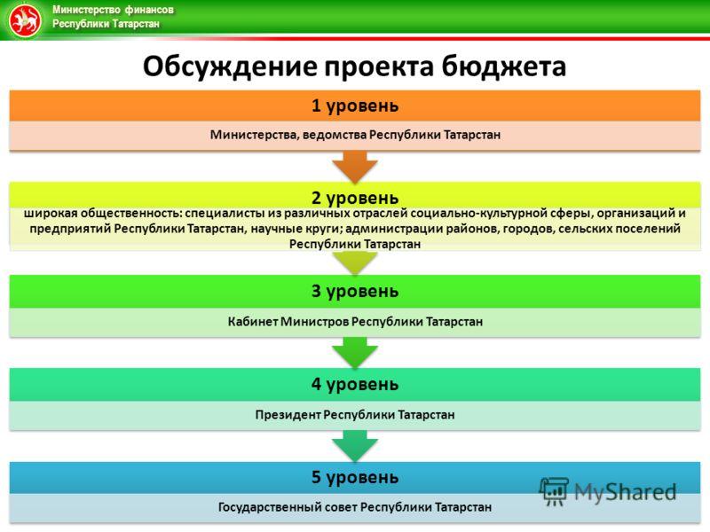 Министерство финансов Республики Татарстан 5 уровень Государственный совет Республики Татарстан 4 уровень Президент Республики Татарстан 3 уровень Кабинет Министров Республики Татарстан 2 уровень широкая общественность: специалисты из различных отрас