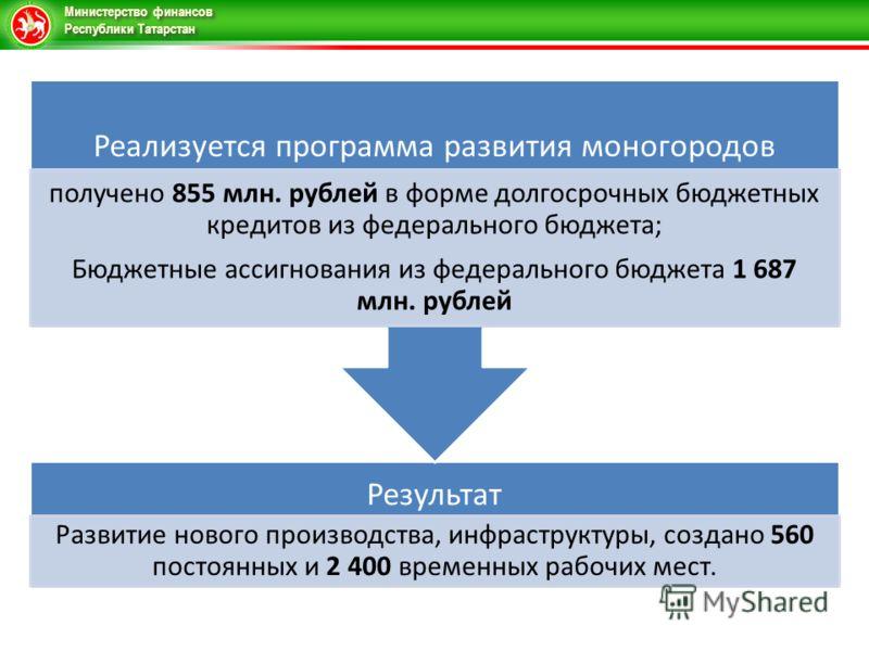 Министерство финансов Республики Татарстан Результат Развитие нового производства, инфраструктуры, создано 560 постоянных и 2 400 временных рабочих мест. Реализуется программа развития моногородов получено 855 млн. рублей в форме долгосрочных бюджетн