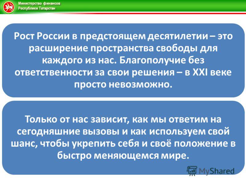 Министерство финансов Республики Татарстан Рост России в предстоящем десятилетии – это расширение пространства свободы для каждого из нас. Благополучие без ответственности за свои решения – в XXI веке просто невозможно. Только от нас зависит, как мы