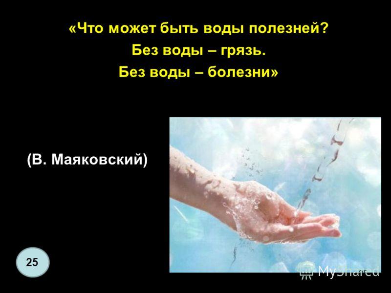 «Что может быть воды полезней? Без воды – грязь. Без воды – болезни» (В. Маяковский) 25