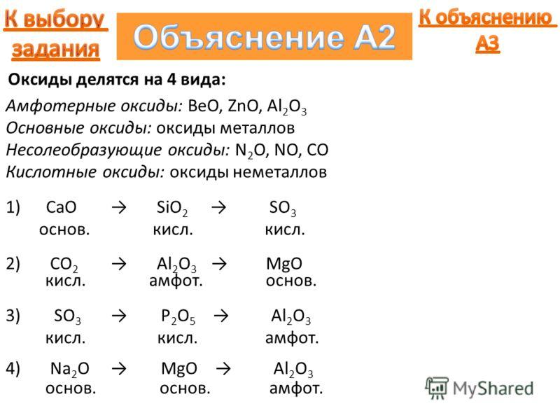 Амфотерные оксиды: BeO, ZnO, Al 2 O 3 Основные оксиды: оксиды металлов Несолеобразующие оксиды: N 2 O, NO, CO Кислотные оксиды: оксиды неметаллов Оксиды делятся на 4 вида: 1) CaO SiO 2 SO 3 2) CO 2 Al 2 O 3 MgO 3) SO 3 P 2 O 5 Al 2 O 3 4) Na 2 O MgO