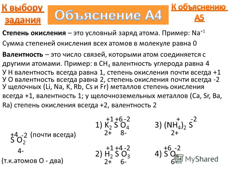 Валентность – это число связей, которыми атом соединяется с другими атомами. Пример: в CH 4 валентность углерода равна 4 S O2S O2 У Н валентность всегда равна 1, степень окисления почти всегда +1 Степень окисления – это условный заряд атома. Пример: