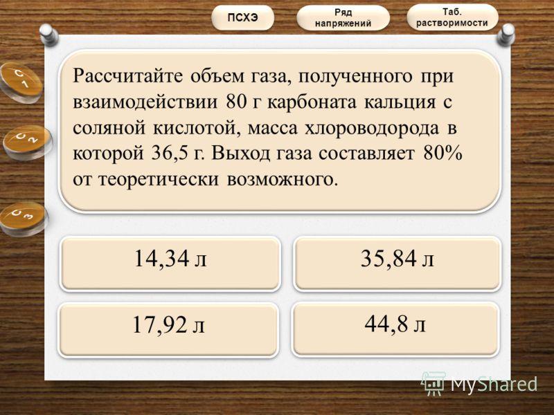 Рассчитайте объем газа, полученного при взаимодействии 80 г карбоната кальция с соляной кислотой, масса хлороводорода в которой 36,5 г. Выход газа составляет 80% от теоретически возможного. 14,34 л 17,92 л 44,8 л 35,84 л ПСХЭ Таб. растворимости Таб.