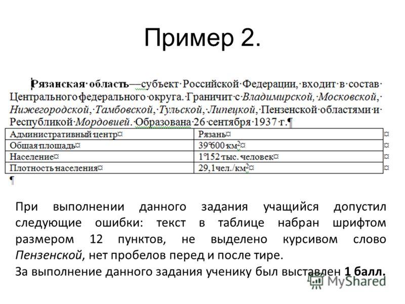 Пример 2. При выполнении данного задания учащийся допустил следующие ошибки: текст в таблице набран шрифтом размером 12 пунктов, не выделено курсивом слово Пензенской, нет пробелов перед и после тире. За выполнение данного задания ученику был выставл