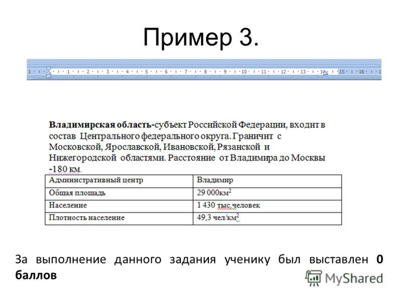 Пример 3. За выполнение данного задания ученику был выставлен 0 баллов