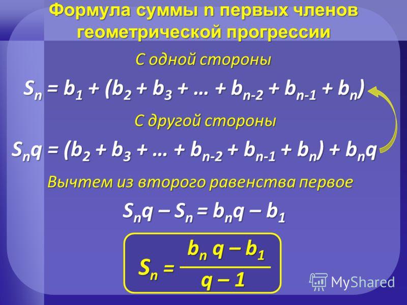 Формула суммы n первых членов геометрической прогрессии Sn = Sn = Sn = Sn = b n q – b 1 q – 1 Sn = b1 + (b2 + b3 + … + bn-2 + bn-1 + bn) С одной стороны Snq = (b2 + b3 + … + bn-2 + bn-1 + bn) + bnq С другой стороны Вычтем из второго равенства первое