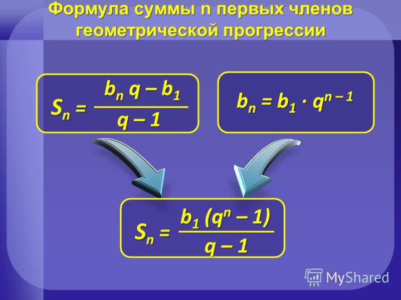 Формула суммы n первых членов геометрической прогрессии b n = b 1 q n – 1 Sn = Sn = Sn = Sn = b 1 (q n – 1) q – 1 Sn = Sn = Sn = Sn = b n q – b 1 q – 1