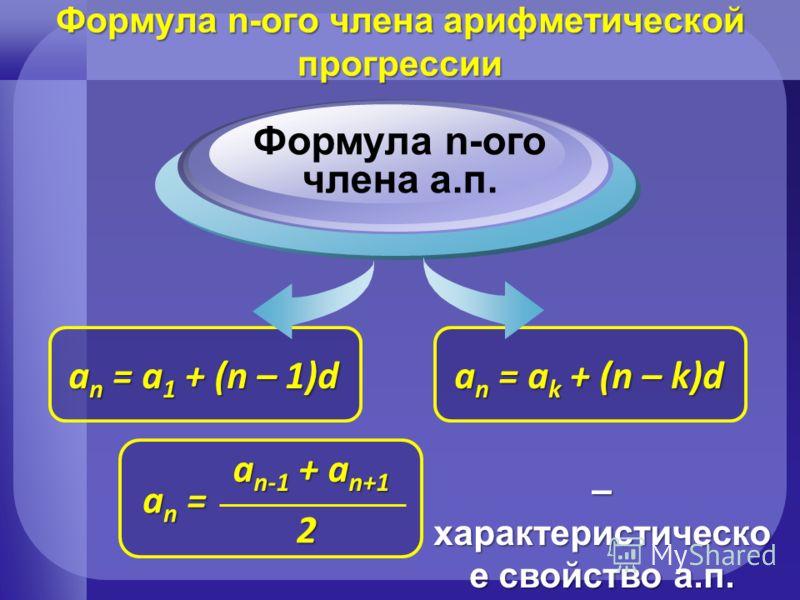 a n = a k + (n – k)d a n = a 1 + (n – 1)d Формула n-ого члена а.п. Формула n-ого члена арифметической прогрессии an = an = an = an = a n-1 + a n+1 2 – характеристическо е свойство а.п.