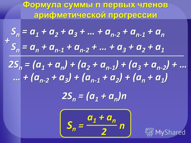 Формула суммы n первых членов арифметической прогрессии Sn = a1 + a2 + a3 + … + an-2 + an-1 + an Sn = an + an-1 + an-2 + … + a3 + a2 + a1 2Sn = (a1 + an) + (a2 + an-1) + (a3 + an-2) + … … + (an-2 + a3) + (an-1 + a2) + (an + a1) 2Sn = (a1 + an)n + S n