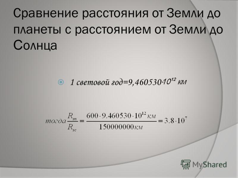 Сравнение расстояния от Земли до планеты с расстоянием от Земли до С олнца 1 световой год=9,460530