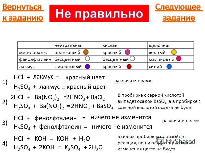 нейтральнаякислаящелочная метилоранжоранжевыйкрасныйжелтый фенолфталеинбесцветный малиновый лакмусфиолетовыйкрасныйсиний 1) 2) Ba(NO 3 ) 2 +HCl H 2 SO 4 + лакмус = = красный цвет +HCl H 2 SO 4 +Ba(NO 3 ) 2 =HNO 3 +BaCl 2 2 =HNO 3 +BaSO 4 2 различить