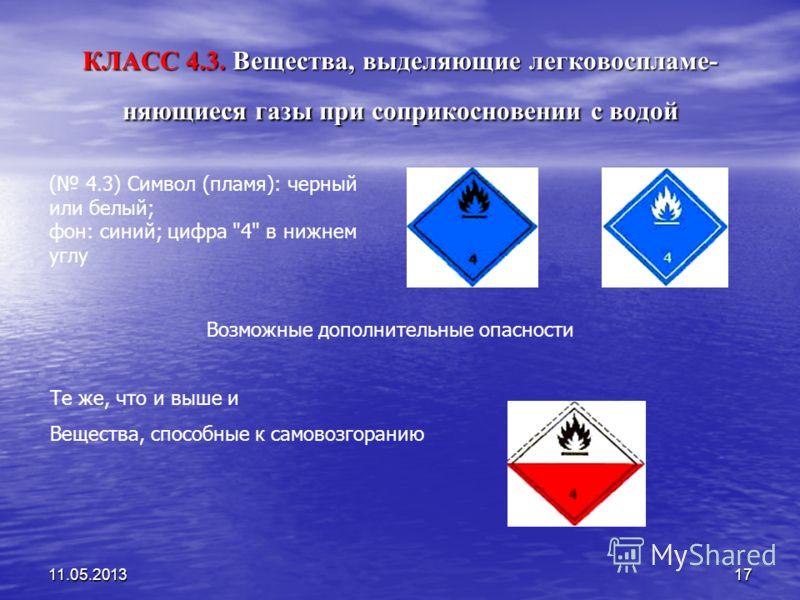 11.05.201317 КЛАСС 4.3. Вещества, выделяющие легковоспламе- няющиеся газы при соприкосновении с водой ( 4.3) Символ (пламя): черный или белый; фон: синий; цифра