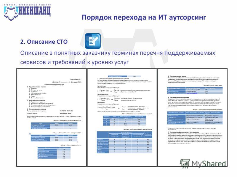 Порядок перехода на ИТ аутсорсинг 2. Описание СТО Описание в понятных заказчику терминах перечня поддерживаемых сервисов и требований к уровню услуг