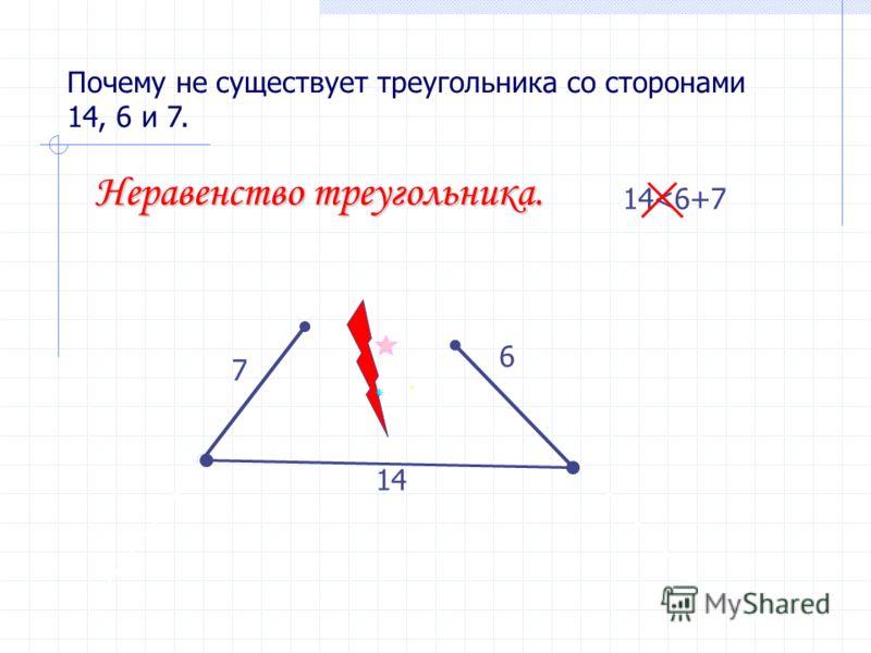 Почему не существует треугольника со сторонами 14, 6 и 7. 14 6 7 14