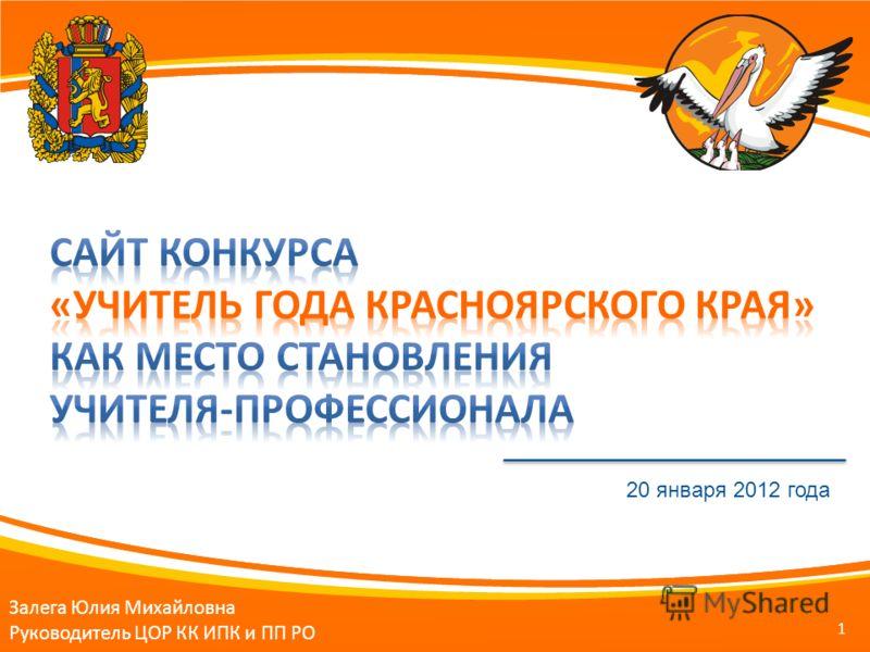 1 Залега Юлия Михайловна Руководитель ЦОР КК ИПК и ПП РО 20 января 2012 года