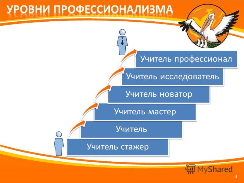 3 Учитель стажер Учитель Учитель мастер Учитель новатор Учитель исследователь Учитель профессионал