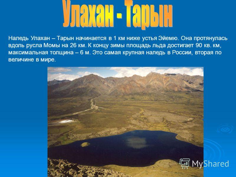 Наледь Улахан – Тарын начинается в 1 км ниже устья Эйемю. Она протянулась вдоль русла Момы на 26 км. К концу зимы площадь льда достигает 90 кв. км, максимальная толщина – 6 м. Это самая крупная наледь в России, вторая по величине в мире.
