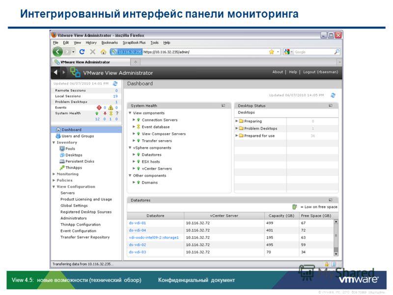 Конфиденциальный документ © VMware, Inc., 2010. Все права защищены. View 4.5: новые возможности (технический обзор) Интегрированный интерфейс панели мониторинга View 4.5: дельта-курс, редакция 1.0