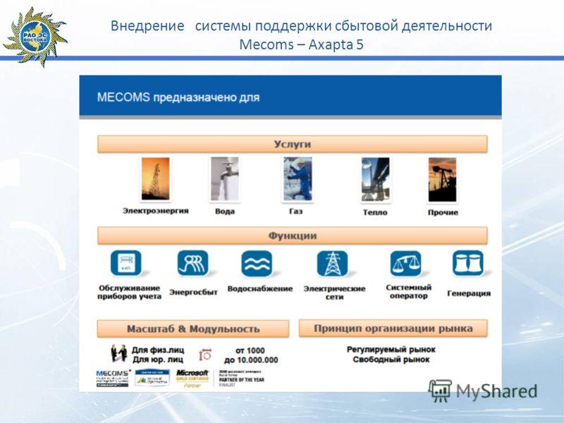 Внедрение системы поддержки сбытовой деятельности Mecoms – Axapta 5