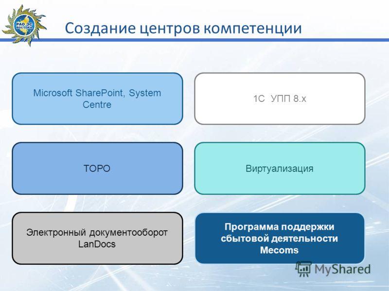 Создание центров компетенции Microsoft SharePoint, System Centre ТОРО 1С УПП 8.х Виртуализация Программа поддержки сбытовой деятельности Mecoms Электронный документооборот LanDocs