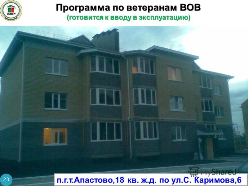 Программа по ветеранам ВОВ (готовится к вводу в эксплуатацию) 23 п.г.т.Апастово,18 кв. ж.д. по ул.С. Каримова,6