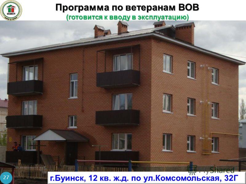 Программа по ветеранам ВОВ (готовится к вводу в эксплуатацию) 27 г.Буинск, 12 кв. ж.д. по ул.Комсомольская, 32Г