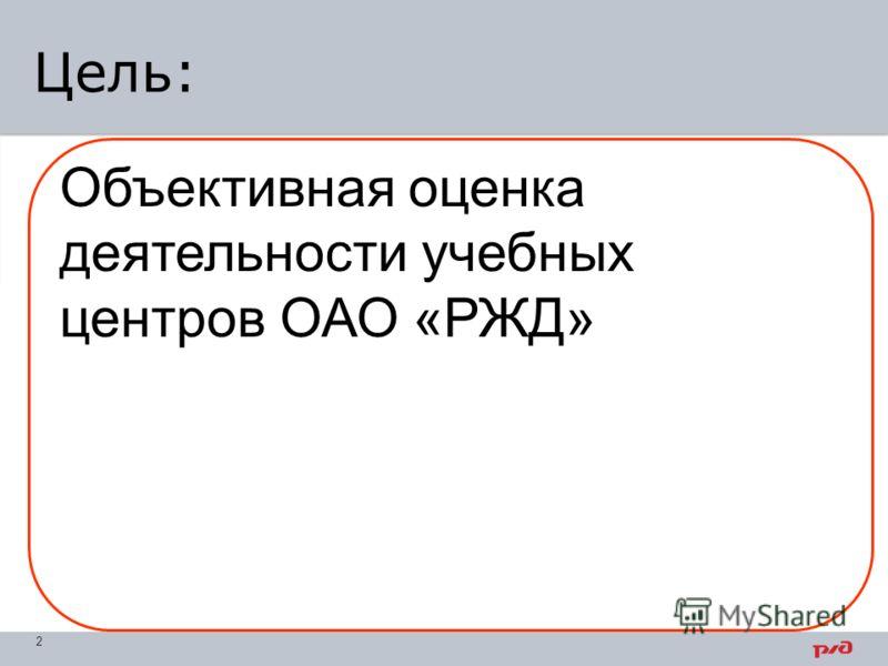 Цель: 2 Объективная оценка деятельности учебных центров ОАО «РЖД»