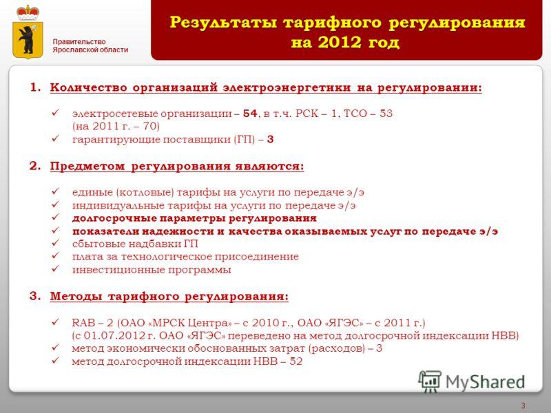 Правительство Ярославской области 3 Результаты тарифного регулирования на 2012 год Результаты тарифного регулирования на 2012 год 1.Количество организаций электроэнергетики на регулировании: электросетевые организации – 54, в т.ч. РСК – 1, ТСО – 53 (