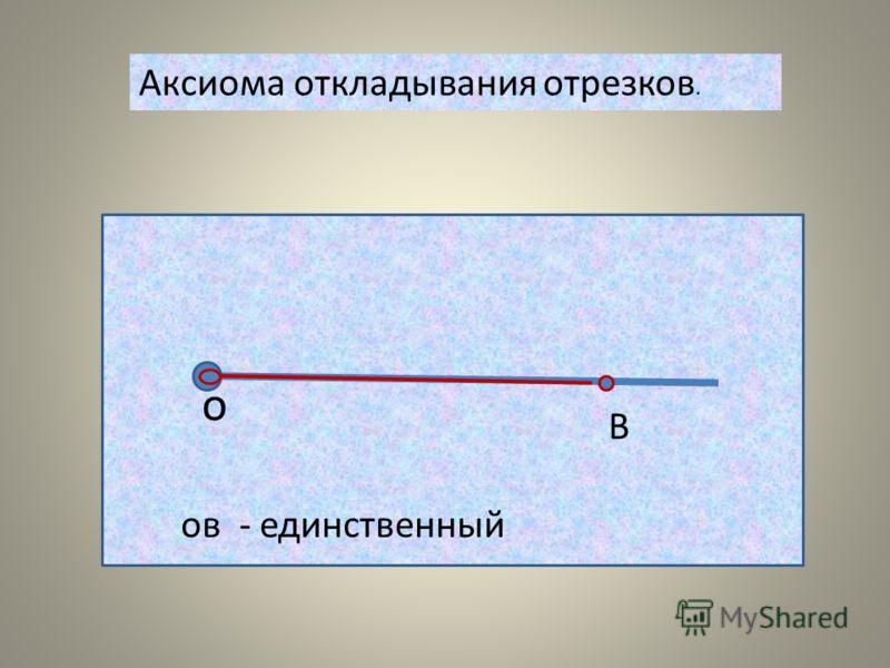 Аксиома откладывания отрезков. о В ов - единственный