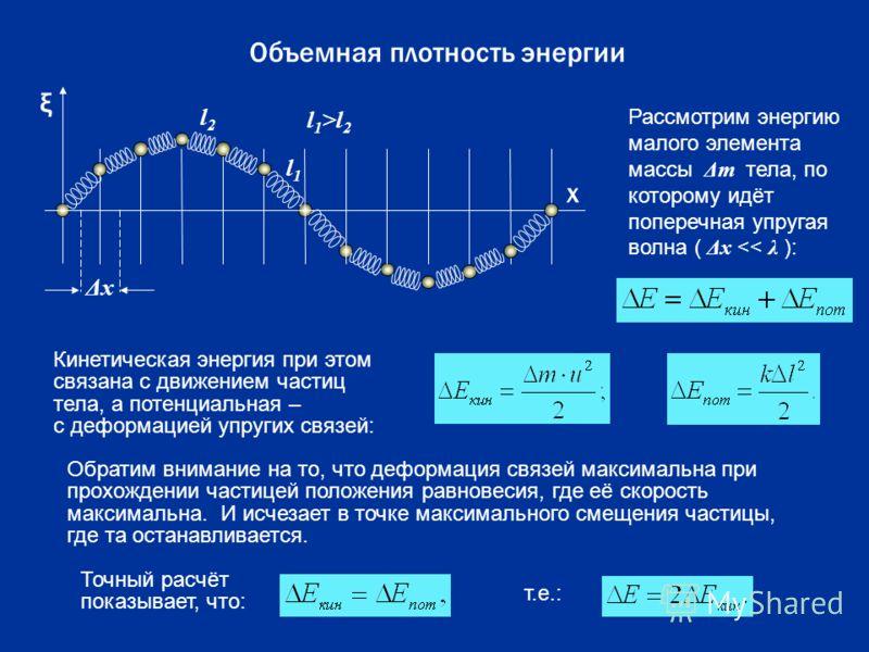 l 1 l 2 l 1 >l 2 ΔxΔx Объемная плотность энергии ξ х Рассмотрим энергию малого элемента массы Δ m тела, по которому идёт поперечная упругая волна ( Δ x