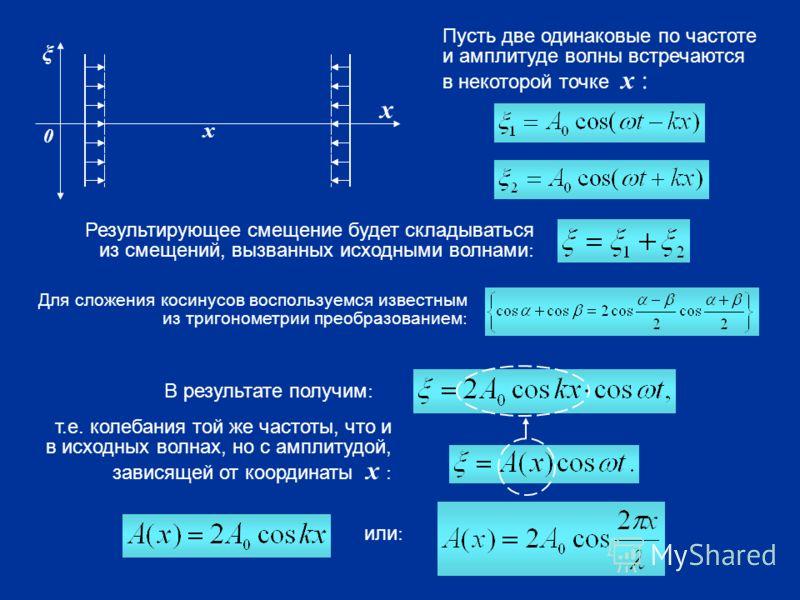 ξ х 0 х Пусть две одинаковые по частоте и амплитуде волны встречаются в некоторой точке х : Результирующее смещение будет складываться из смещений, вызванных исходными волнами : Для сложения косинусов воспользуемся известным из тригонометрии преобраз