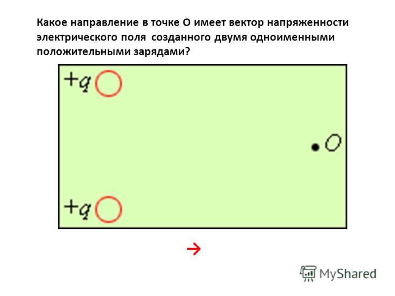 Какое направление в точке О имеет вектор напряженности электрического поля созданного двумя одноименными положительными зарядами?