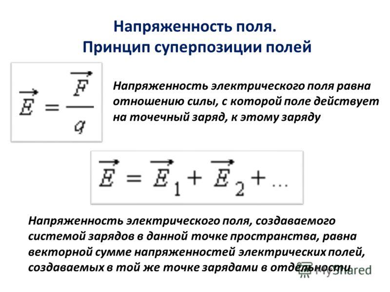 Напряженность поля. Принцип суперпозиции полей Напряженность электрического поля равна отношению силы, с которой поле действует на точечный заряд, к этому заряду Напряженность электрического поля, создаваемого системой зарядов в данной точке простран
