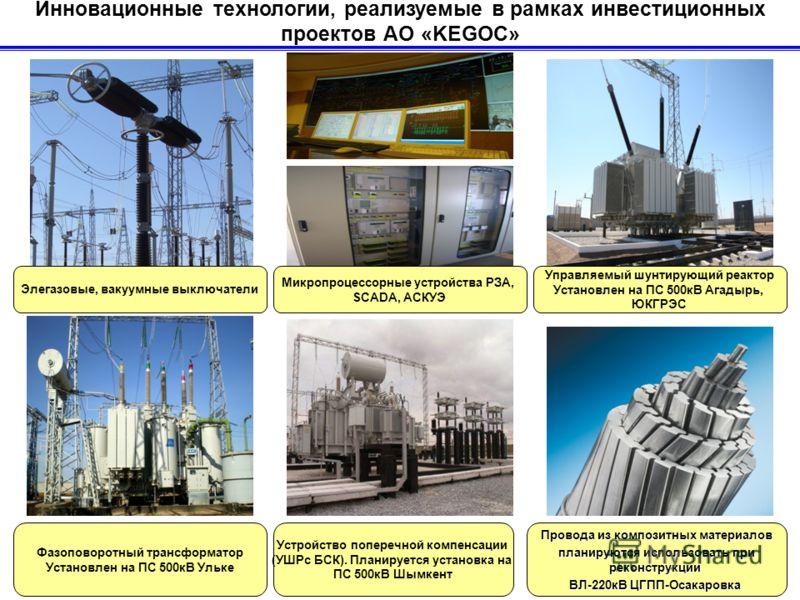 Инновационные технологии, реализуемые в рамках инвестиционных проектов АО «KEGOC» Провода из композитных материалов планируются использовать при реконструкции планируются использовать при реконструкции ВЛ-220кВ ЦГПП-Осакаровка Микропроцессорные устро