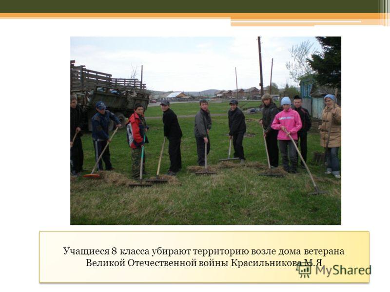 Учащиеся 8 класса убирают территорию возле дома ветерана Великой Отечественной войны Красильникова М.Я