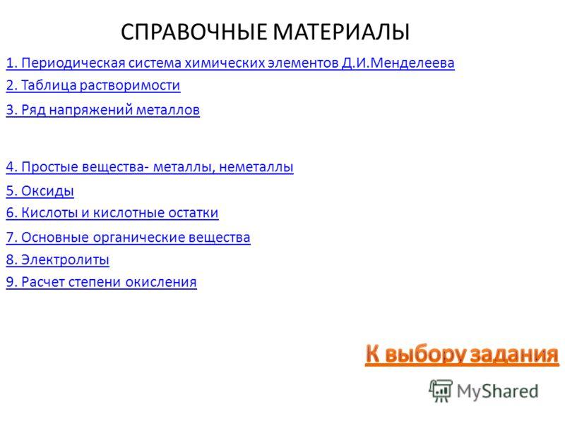 СПРАВОЧНЫЕ МАТЕРИАЛЫ 1. Периодическая система химических элементов Д.И.Менделеева 2. Таблица растворимости 3. Ряд напряжений металлов 4. Простые вещества- металлы, неметаллы 5. Оксиды 6. Кислоты и кислотные остатки 7. Основные органические вещества 9