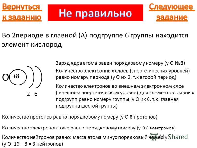 Во 2периоде в главной (А) подгруппе 6 группы находится элемент кислород О +8 26 Количество электронных слоев (энергетических уровней) равно номеру периода (у О их 2, т.к второй период) Количество электронов во внешнем электронном слое ( внешнем энерг