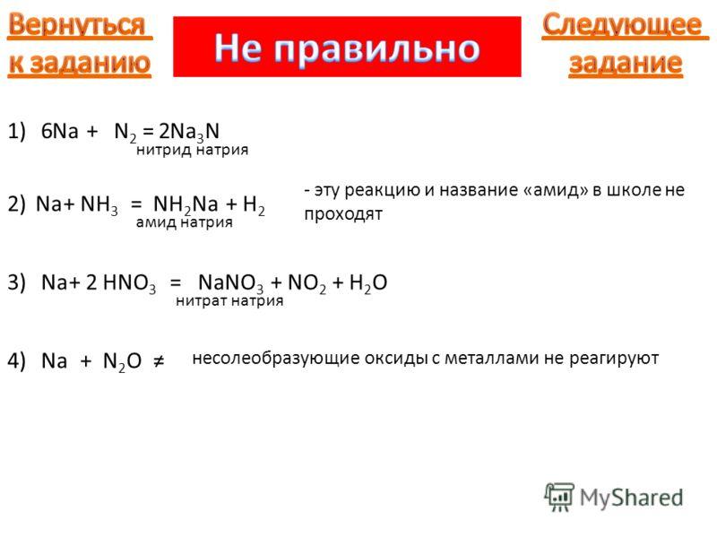 Na+N2N2 =Na 3 N62 Na+NH 3 =NH 2 Na нитрид натрия +H2H2 амид натрия Na+HNO 3 =NaNO 3 2+NO 2 нитрат натрия Na + N2ON2O - эту реакцию и название «амид» в школе не проходят +H2OH2O несолеобразующие оксиды с металлами не реагируют 1) 2) 3) 4)