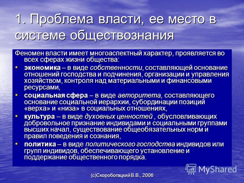 (c)Скоробогацкий В.В., 2006 1. Проблема власти, ее место в системе обществознания Феномен власти имеет многоаспектный характер, проявляется во всех сферах жизни общества: экономика – в виде собственности, составляющей основание отношений господства и
