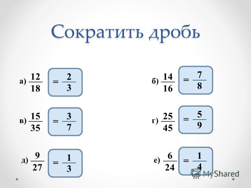 2 3 = 12 18 а) 14 16 б) 15 35 в) 25 45 г) 9 27 д) 6 24 е) 3 7 = 1 3 = 7 8 = 5 9 = 1 4 = Сократить дробь