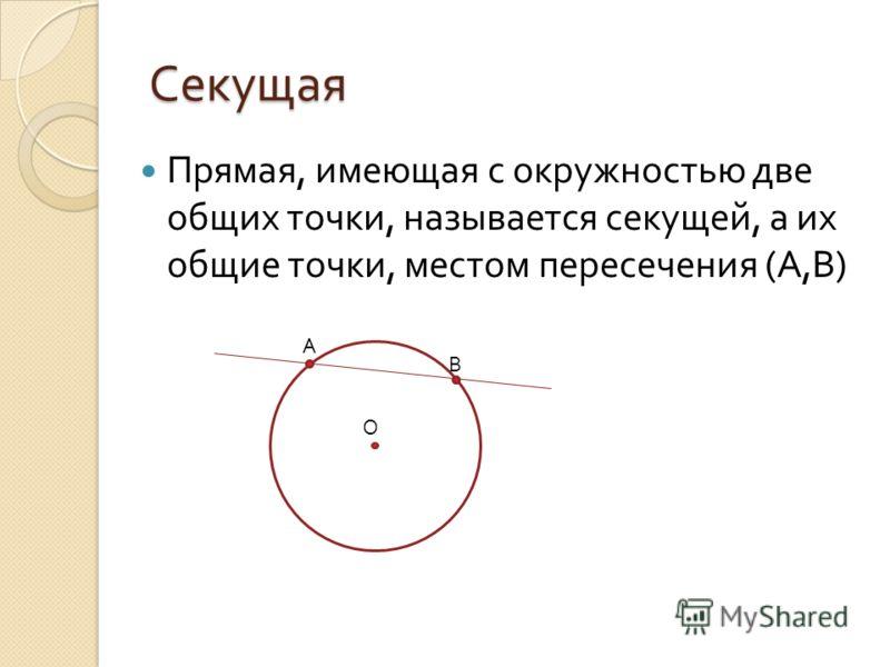 Секущая Прямая, имеющая с окружностью две общих точки, называется секущей, а их общие точки, местом пересечения ( А, В ) О А В