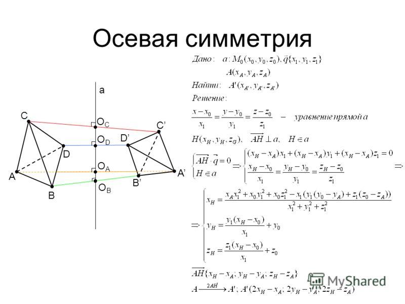 Осевая симметрия A B C D B D C A a OCOC ODOD OAOA OBOB