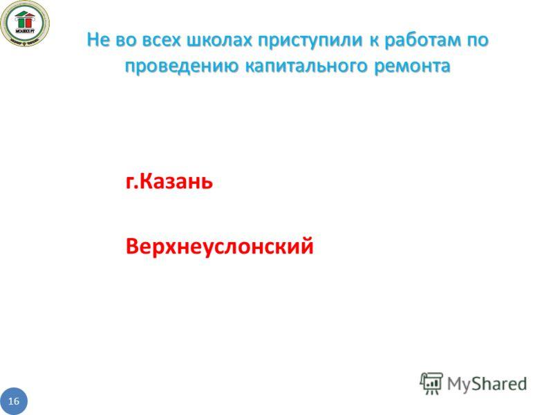 г.Казань Верхнеуслонский Не во всех школах приступили к работам по проведению капитального ремонта 16