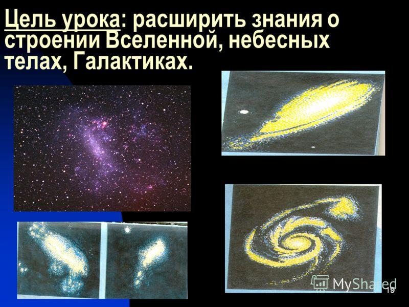 11.05.201319 Цель урока: расширить знания о строении Вселенной, небесных телах, Галактиках.