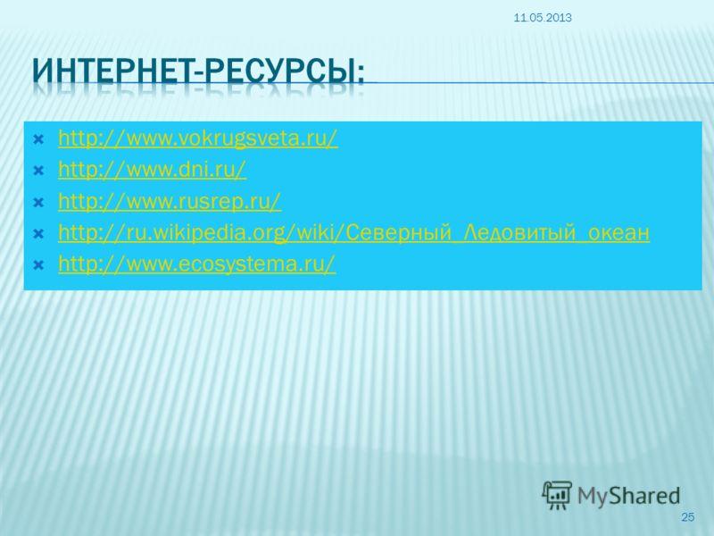 http://www.vokrugsveta.ru/ http://www.dni.ru/ http://www.rusrep.ru/ http://ru.wikipedia.org/wiki/Северный_Ледовитый_океан http://ru.wikipedia.org/wiki/Северный_Ледовитый_океан http://www.ecosystema.ru/ 11.05.2013 25