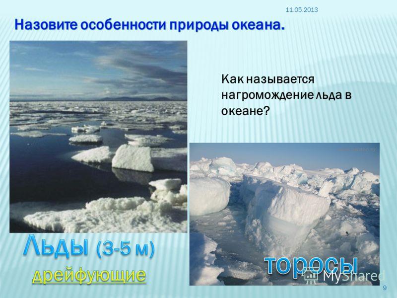 11.05.2013 9 Как называется нагромождение льда в океане?