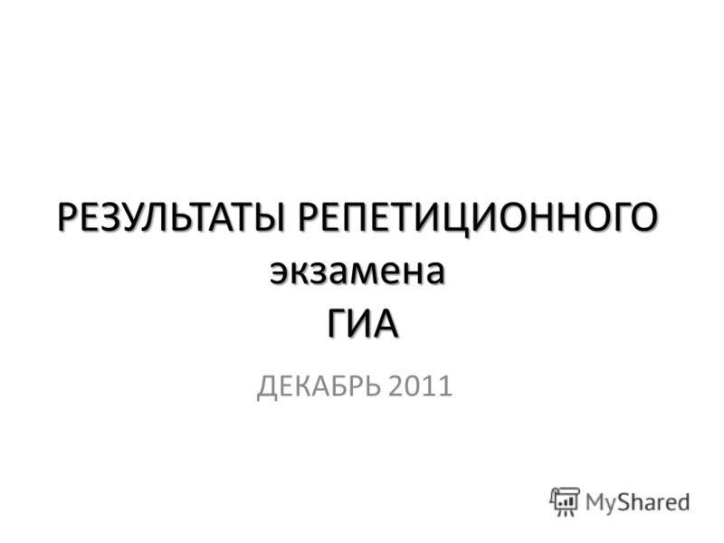 РЕЗУЛЬТАТЫ РЕПЕТИЦИОННОГО экзамена ГИА ДЕКАБРЬ 2011