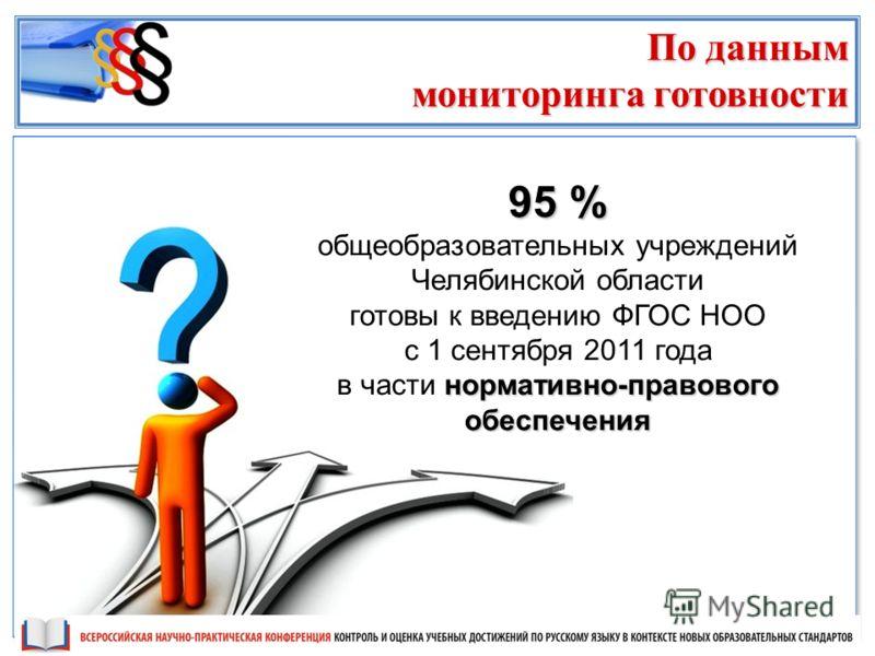 95 % общеобразовательных учреждений Челябинской области готовы к введению ФГОС НОО с 1 сентября 2011 года нормативно-правового обеспечения в части нормативно-правового обеспечения По данным мониторинга готовности