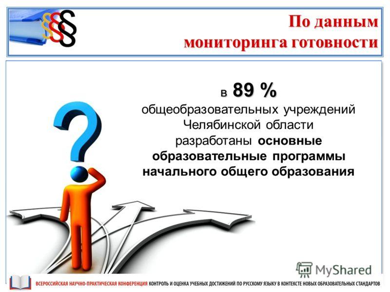 в 89 % общеобразовательных учреждений Челябинской области разработаны основные образовательные программы начального общего образования По данным мониторинга готовности
